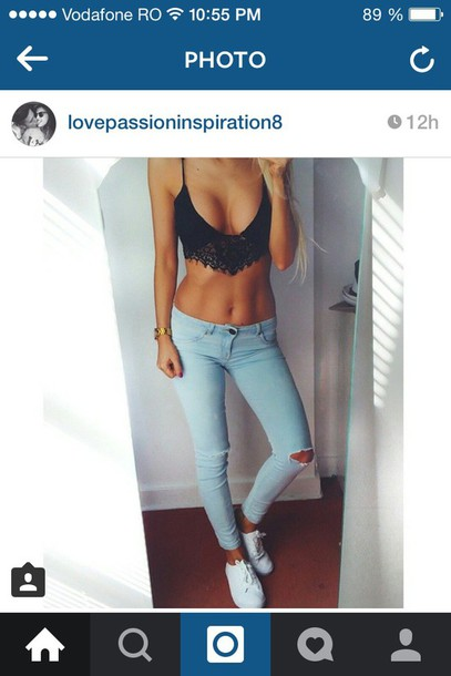 jeans top black lingerie bra lace