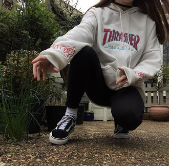 sweater thrasher hoodie tumblr aesthetic cute flames cream winter outfits outfit goals windcheater thrasher hoodie red blue