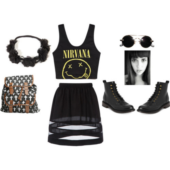 nirvana skirt black flower crown satchel vintage sunglasses tinted a-line skirt nirvana t-shirt ankle boots