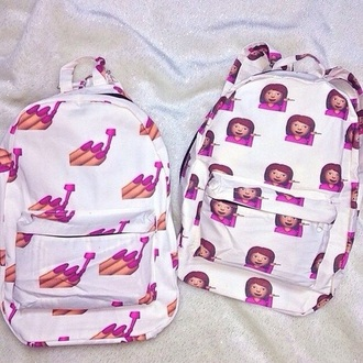 bag emojis backpack backpack pink emoji print emoticons emoji school bag girl girly girly bag white pink and white white and pink printed backpack emoji book bag dope nice