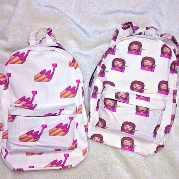 Bag: emojis backpack, backpack, pink, emoji print, emoji print ...