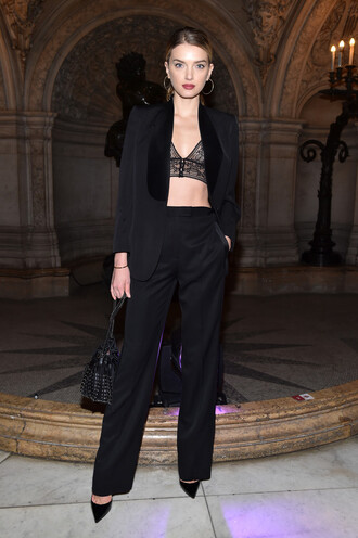 top bra bralette lace bralette lily donaldson paris fashion week 2017 fashion week 2017 all black everything pants suit blazer