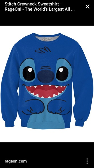 shirt blue shirt lilo and stitch crew neck sweatshirt