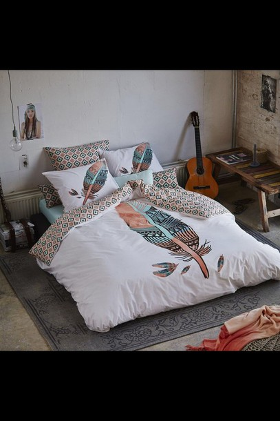 Home Accessory Bedding Bedroom Hipster Feathers Pillow Dorm Room Boho Tumblr Twitter Indie Wheretoget