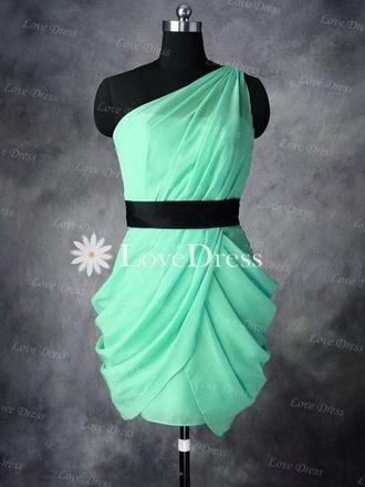 dress aqua one shoulder blue dress prom dress graduation dresses