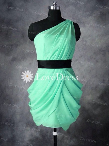 dress one shoulder blue dress aqua prom dress graduation dresses