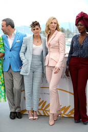 pants,blazer,suit,top,bodysuit,cate blanchett,kristen stewart,cannes,shoes,sandals