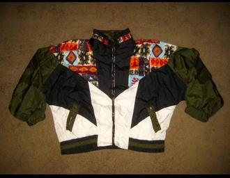 jacket adidas puma vintage nylon windbreaker neon aztec reebok sportswear 90s style 80s style