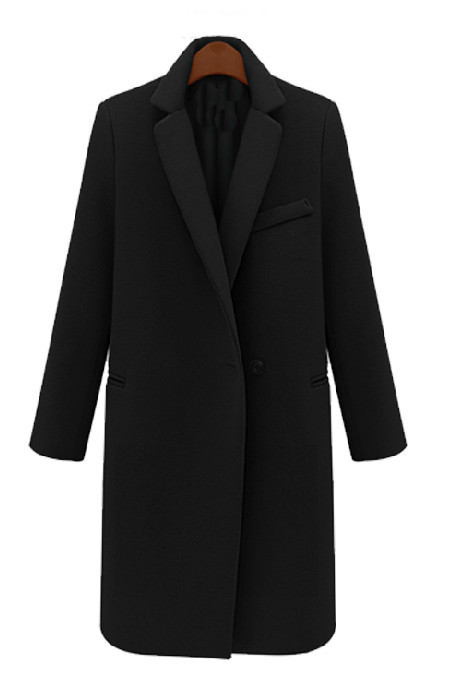 Coral Pink Black Notch Stand Collar Long Wool Boyfriend Coat Jacket – Goodnight Macaroon