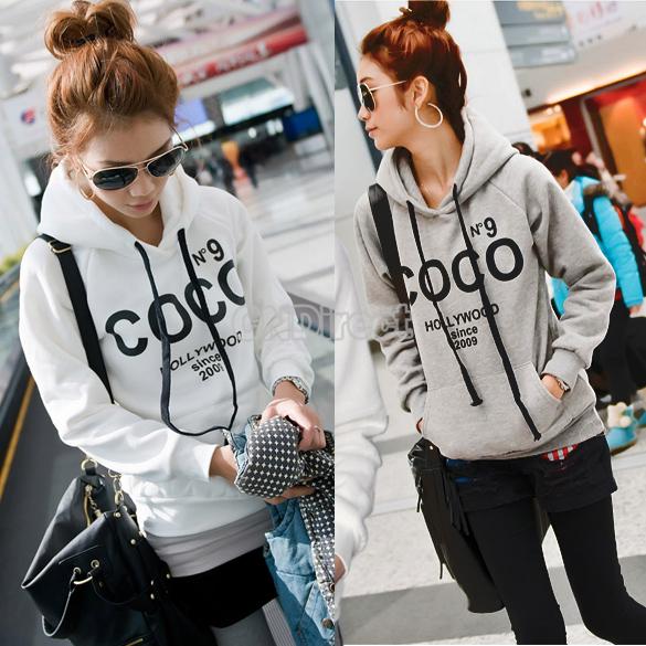 Korea Women Casual Hoodie Sweatshirt Tracksuits Tops Outerwear