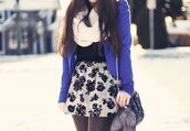 skirt,rose,white skirt,black roses,mini skirt,cute,girly,bag,jacket,blue jacket,roses,floral skirt,shoulder bag,infinity scarf,knitted scarf,fall outfits,keychain,purple jacket,coat,purple,blazer,rose skirt,outfit,winter outfits,cute outfits,leggings,tights,black leggings,black tights,scarf,white scarf,shirt,sweater,shorts,prety,pretty,black and white,skater skirt,fashion,floral,black,bubble skirt,dress,tumblr,tumblr outfit