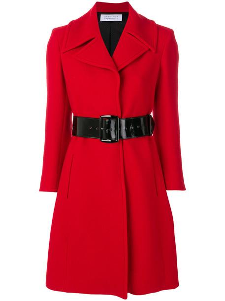 coat women classic spandex wool red