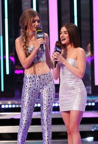 gigi hadid celebrity model lucy hale crop tops leggings metallic silver dress mini dress tube dress sexy dress dress bustier crop top