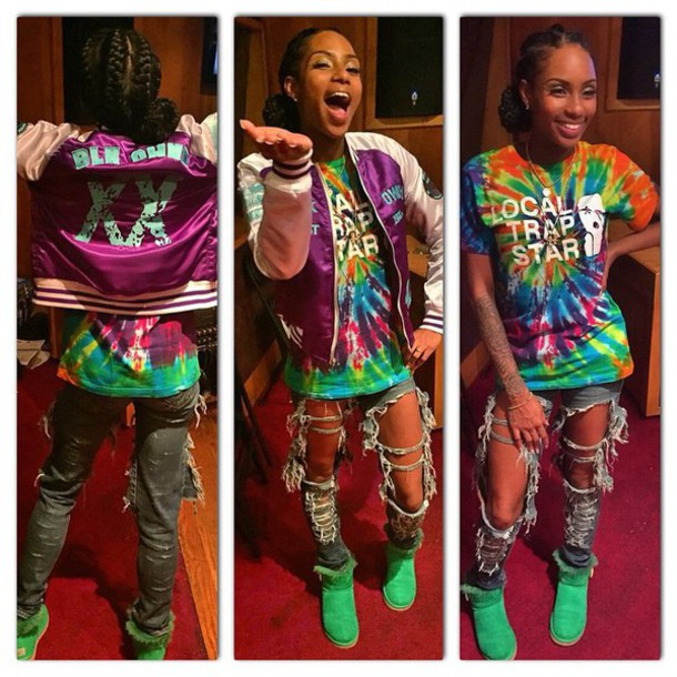 bomber jacket tie dye jumpsuit shoes