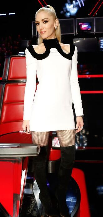 dress gwen stefani boots mini dress long sleeve dress black and white