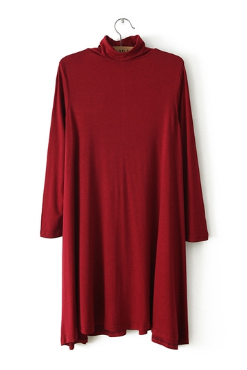 Pure Color Turtleneck Basic Dress [FXBI00395] - PersunMall.com