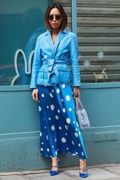 jacket,blue jacket,leather jacket,dress,maxi dress,long dress,heels,polka dots dress,polka dots,high heels,monochrome outfit