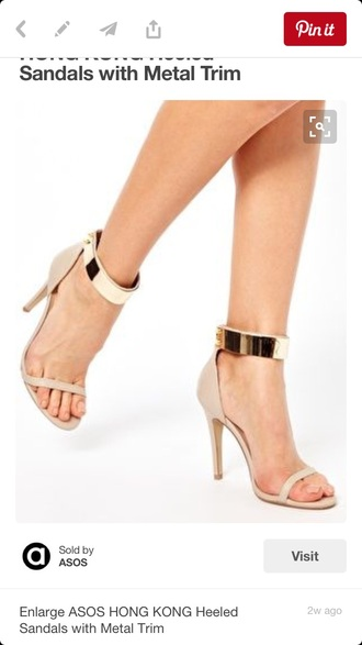 shoes beige nude gold ankle strap heels