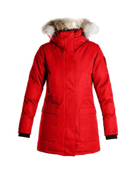 parka fur red coat