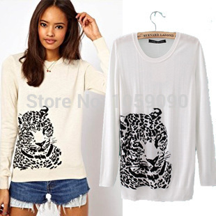 Aliexpress.com : Buy Brand Hot New Arrival 2014 White Autumn Winter Women Sweaters Tiger Embroidery Print hedging Long Sleeved Thin Wool Jumper from Reliable sweater guard suppliers on Vogue Official Online Shop