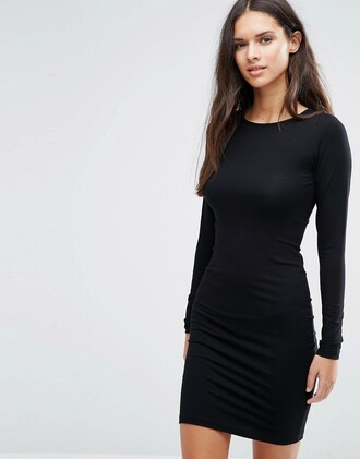 dress little black dress black dress classic sexy asos black long sleeves long sleeve dress bodycon bodycon dress date outfit birthday dress cute cute dress girly girly dress