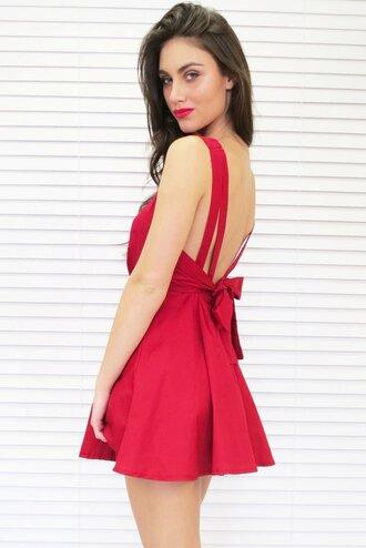 dress red dress bow back dress