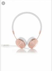 earphones,rose gold,headphones