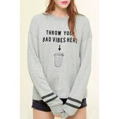 sweater,quote on it,grey sweater,hipster,hippie chic,fashion,rose wholesale,indie,grey,long sleeves,Casual Jewel Neck Long Sleeve Letter Printed Pullover Sweatshirt For Women,cool,trendy,style,rosegal,dec,rosegal-dec,zaful