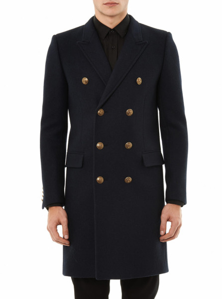 Laurent Double breasted Wool Coat in Blue for Men (navy) | Lyst