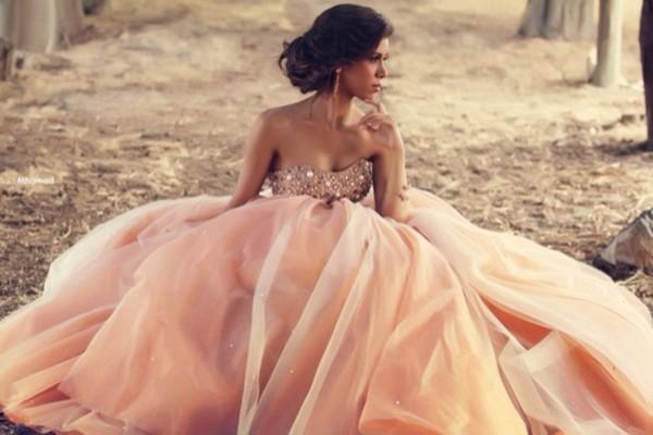 dress prom dress dusky pink dimonds a line