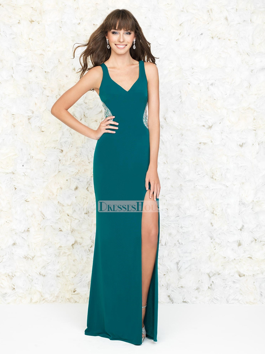 Neck with back highlight with slit prom dress pd11817 sale online