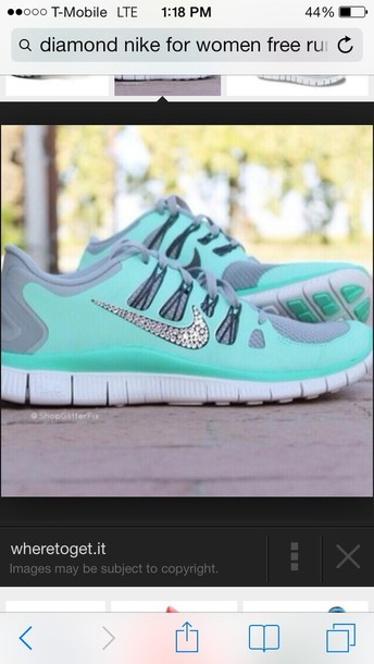 a5cd4c82c885 shoes nike free run mint rhinestones light blue nike shoes sparkly swoosh tiffany  blue sparkle swoosh