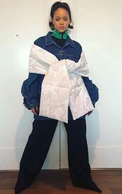 jacket,denim jacket,denim,scarf,pants,rihanna,instagram,celebrity,camouflage