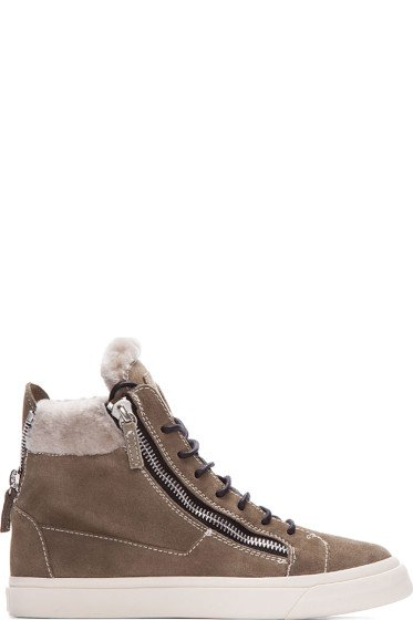 Giuseppe Zanotti - Beige Snakeskin-Embossed High-Top Sneakers