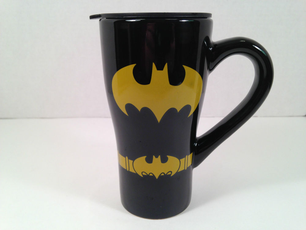 Batman coffee mug cup tumbler travel dc comics 2012 with lid black belt