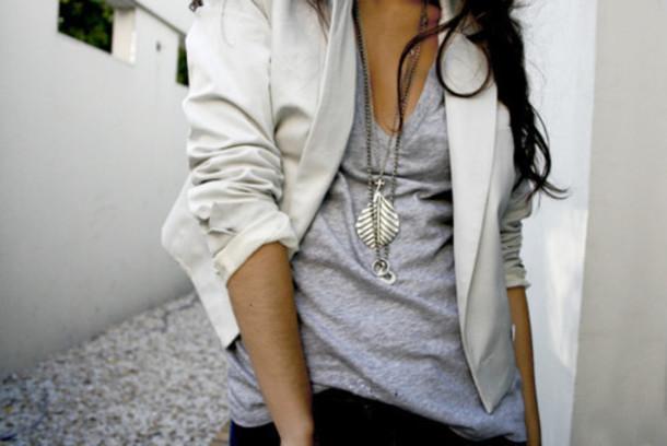 blazer white blazer jewelry leaf necklace burnout v-neck grey silver jewels shirt