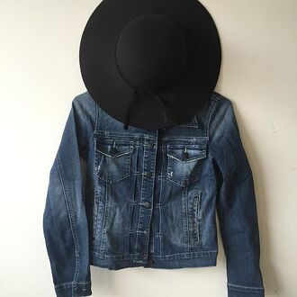 jacket basic basic jean jacket denim jacket floppy hat black floppy hat fall outfits winter outfits 36683