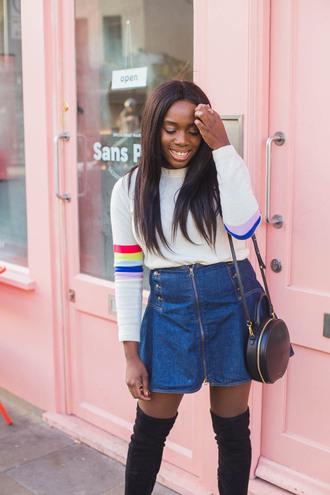 skirt denim denim skirt mini skirt bag round bag top white top