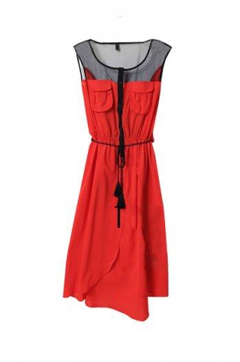 Mesh montage vent red dress [ncskj0089]