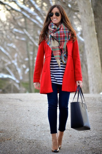 classroom couture blogger coat top jeans scarf shoes bag sunglasses shorts