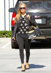 shirt,paris hilton,shoes,acessories,bag,leggings