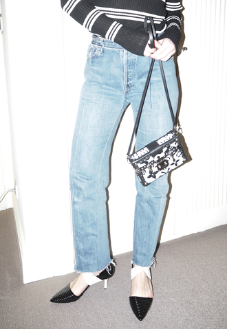 a portable package blogger jeans top shoes bag