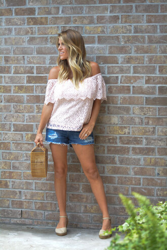 lipstickheels&ababy blogger top bag shorts shoes make-up cult gaia bag denim shorts off the shoulder top lace top wedges espadrilles