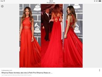 dress rihanna red dress red carpet dress