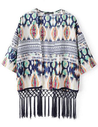 cardigan kimono blur abstract brenda-shop vintage fringes boho
