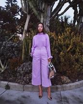 blouse,lilac,monochrome,monochrome outfit,culottes,pants,cropped pants,lilac pants,lilac blouse,bag,transparent  bag