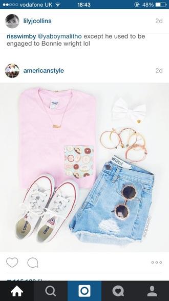 top pink sweet pocket t-shirt summer cute doughnut