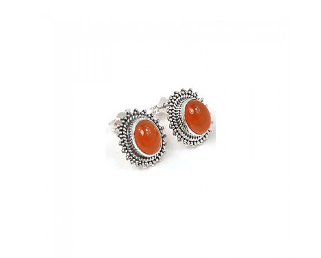 Unique 925 sterling silver Gemstone Carnelian Stud