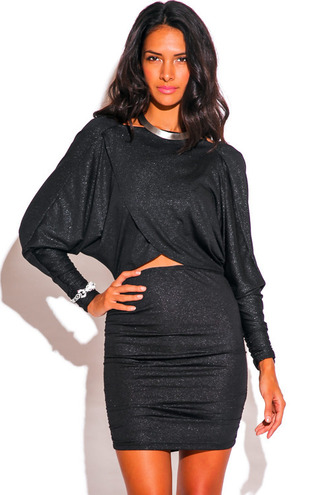 dress draped cut-out dolman sleeve long sleeves cowl low back open back mini tight bodycon wrap metallic trendyish