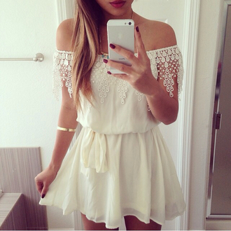 date outfit off the shoulder white lace dress white dress short dress white off shoulder dress crochet lace lace dress white ivory dress crochet dress mini dress jumpsuit cream style fashion summer dress summer cute dress casual holiday dress beach white off-shoulder